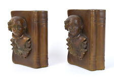 Vintage Spelter William Shakespeare Head in Book Cover Book Ends