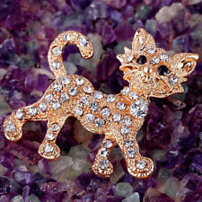 Lovely Gold Cristal Rhinestone Cat Aolly Brooch Pin Party Jewelry Gift