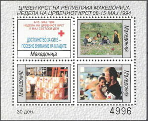 Macedonia 1994 Red Cross Helping People Block of 4 MNH (SC# RA54a)