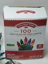 Holiday Time 100 MULTICOLOR Mini Lights Green Wire Set String Fairy Christmas