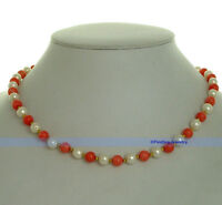 """Women's 17"""" Pink Coral  Blue Lapis & 7mm White Freshwater Pearl Necklace   FJUS"""