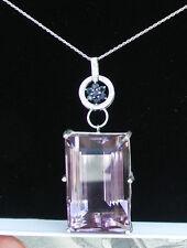 Estate Huge 154 carat Bolivia Amethyst, Sapphire diamond 14k white gold necklace