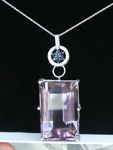 Estate Huge 154 carat Bolivia Amethyst, Sapphire diamond 14k white gold necklace