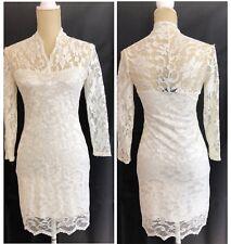 ASOS Ivory Lace Long Sleeve Short Dress Size US 8 UK 12