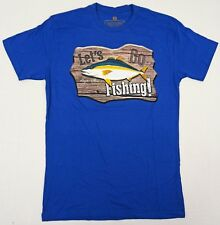 LET'S GO FISHING T-shirt Baja Mexico Tee 100% Cotton Men SMALL Blue New