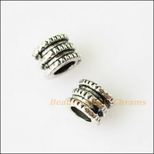 35Pcs Antiqued Silver Tone Tiny Tube Spacer Beads Charms 5mm