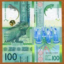 Aruba, 100 florin, 2019, P-New, UNC > Complete Redesign, Vertical, 3-D strip