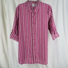 Roaman's 2X Blouse Striped Pink 3/4 Length Sleeves Tunic Career Plus Size