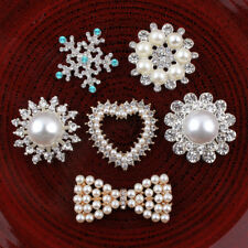 20pcs Decorative Buttons Crystal Pearl Alloy Flatback Rhinestone Buttons