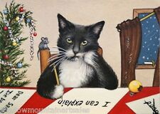 Christmas Tuxedo Cat Letter to Santa ACEO Art Print animal mouse tree ornaments
