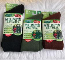 Mens Plain Wellington Boot Socks Welly Wellie Liners Fishing Hiking Adults 6-11
