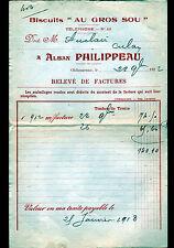 """CHATEAUROUX (36) BISCUITS """"AU GROS SOU / Alban PHILIPPEAU"""" en 1912"""