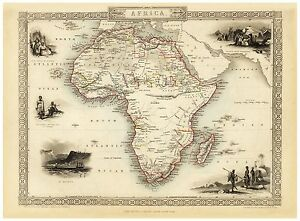 Old Vintage Map of Africa richly illustrated Tallis 1851