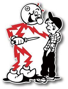 """Reddy Kilowatt Knife Kid Electricity Kills Tool Box Car Decal Sticker 2"""" X 1.5"""""""