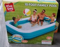 "Play Day Rectangular Inflatable Family Pool, 120"" x 72"" x 22"" 10 foot ft"