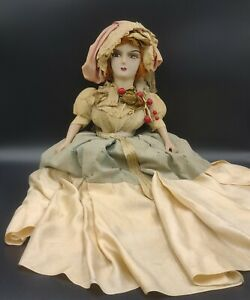 """Antique German Boudoir Doll Red Head Composition Hand Painted 24"""""""