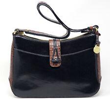 BRAHMIN Black Brown Leather Shoulder Bag Cross Body Handbag