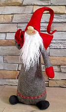 ❀ Wichtel Zwerg 45cm Groß Zipfelmütze Lang Filz Grau Rot Türstopper Stoff #120