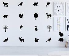 Woodland Animals Wall Stickers & Decals x18 Assorted Vinyl Art Kids Bedroom