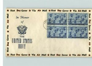 United States NAVY Honored, 1945 First Day of Issue, Block of 4