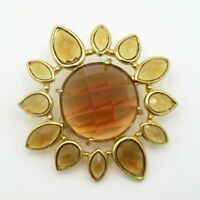 Gold Tone Amber Coloured Sun Flower Brooch Pin Statement Costume Jewellery