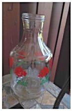 Vintage Duraglas Glass Juice Jug Roses 2 1/2 Quart