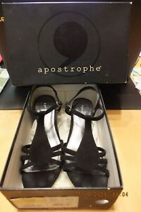 Apostrophe YEVETTE Black Strappy Heels Size 7 1/2 MED Shoes BLACK