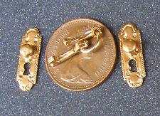 1:12 Scale 2 Metal Door Knobs Plates & Keys Dolls House Miniature Handles 275