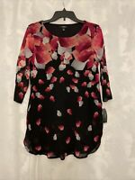 ALFANI NEW Women's Black Chiffon Printed Tunic Shirt Top Size PM Petite Medium
