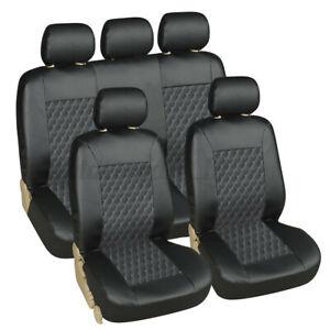 Universal Heavy Duty Car Seat Covers Leather Waterproof Full Set Black Look