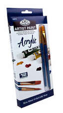Artist's Acrylic Paint Set of 12 Tubes 2 Taklon Brushes by Royal & Langnickel