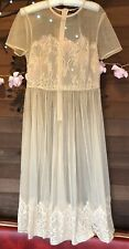 Sexy New With Tags Forever 21 Nude Lace Sheer Size M Short Sleeved Calf Dress