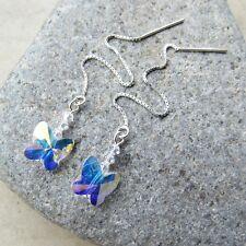 *SJ1* Sterling Silver Threader Dangle Earrings w/ AB Swarovski Crystal Butterfly