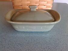 Longaberger Pottery Mini Handled Casserole dish & lid Sage green New w/box