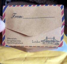 10X Mini Envolvente Postal Estacionario Carta Papel De Correo Aéreo Vintage de almacenamiento de información