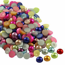 2000pcs Half Round Bead Flat Back Acrylic Pearl Scrapbooking Embellishment 4mm