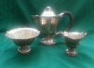 Georg Jensen Sterling Silver No.4 Three Piece Tea Set  c.1930