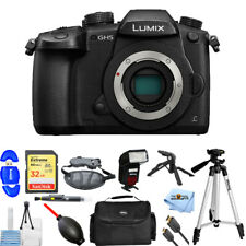 Panasonic Lumix DC-GH5 Mirrorless Micro 4/3 Camera Body + 32GB + Flash Bundle