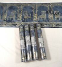 Foremost Wallpaper Border Blue Gold Arch Dining Chair Columns 4 Roll Lot Roman
