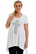 New Womens Top Plus Size Ladies Cross Stud T-Shirt A-Line Gothic Party Nouvelle