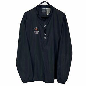 Sydney 2000 Olympics Nike Windbreaker Jacket Men's XL Black 1/2 Zip Pullover