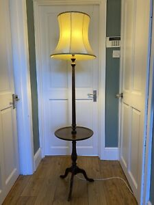 Vintage Antique Wooden Standard Lamp / Floor Lamp (Shade Not Inc) Tripod Lamp