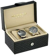 NEW Akribos XXIV AK740YG Men's Yellow Gold Black Dial Multi-Function Watch Set