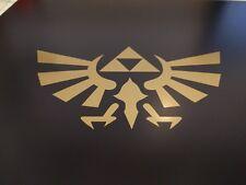 "2 pack Zelda Hyrule Crest TriForce Logo Gold metallic vinyl decal 3 3/4"" x 2"""