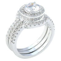4.95Ct Halo Round Cut CZ .925 Sterling Silver Wedding Ring Set Women's Size 5-10