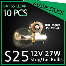 S25 12V 27W Halogen Brake Stop Tail Bulbs Globes Light BA15S CLEAR Bulk 10PCS