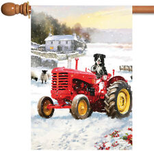 NEW Toland - Tractor Dog - Cute Farm Country Winter Snow Puppy House Flag