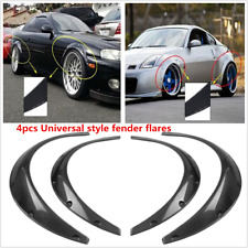 4X Black Carbon Fiber Style Eyebrow Arch Fender Flares Cover Trims Car Body Kit