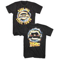 Back to The Future Save the Clocktower Men's T Shirt DeLorean Rush Movie Slogan