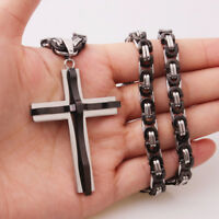 Religious Cross Pendant Necklace for Men Boy Stainless Steel Silver Black Tone